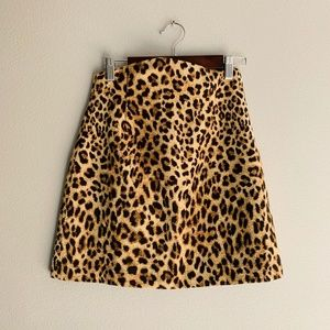 Zara High Waisted Leopard Animal Print Mini Skirt
